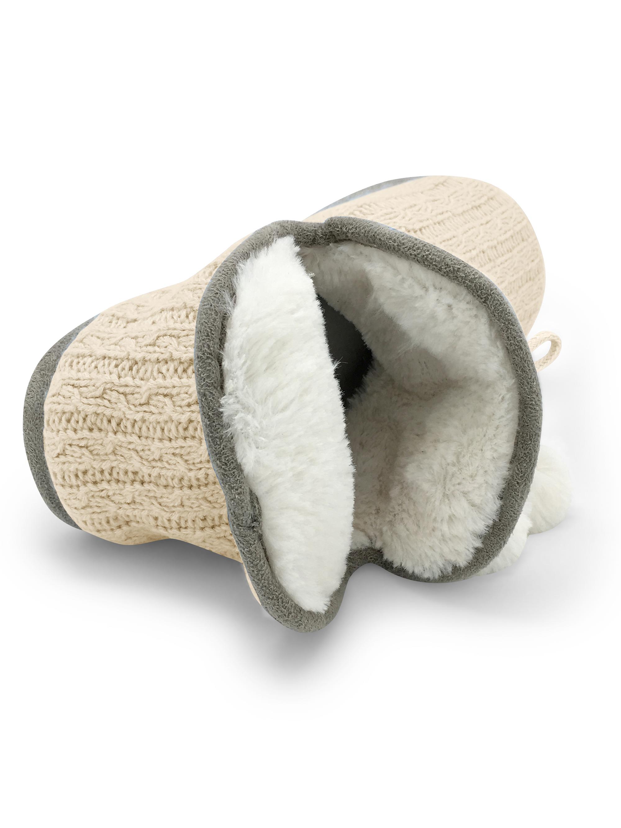 Junies Womens Carol Plush Fur Lined Slip On Cable Knit Slipper